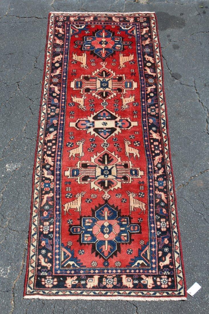 """3'4"""" x 10'7"""" Heriz Persian wool carpet"""