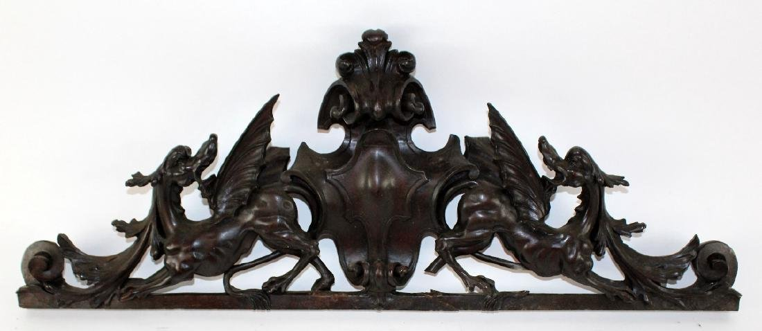 French carved walnut over door with gryphons - 3