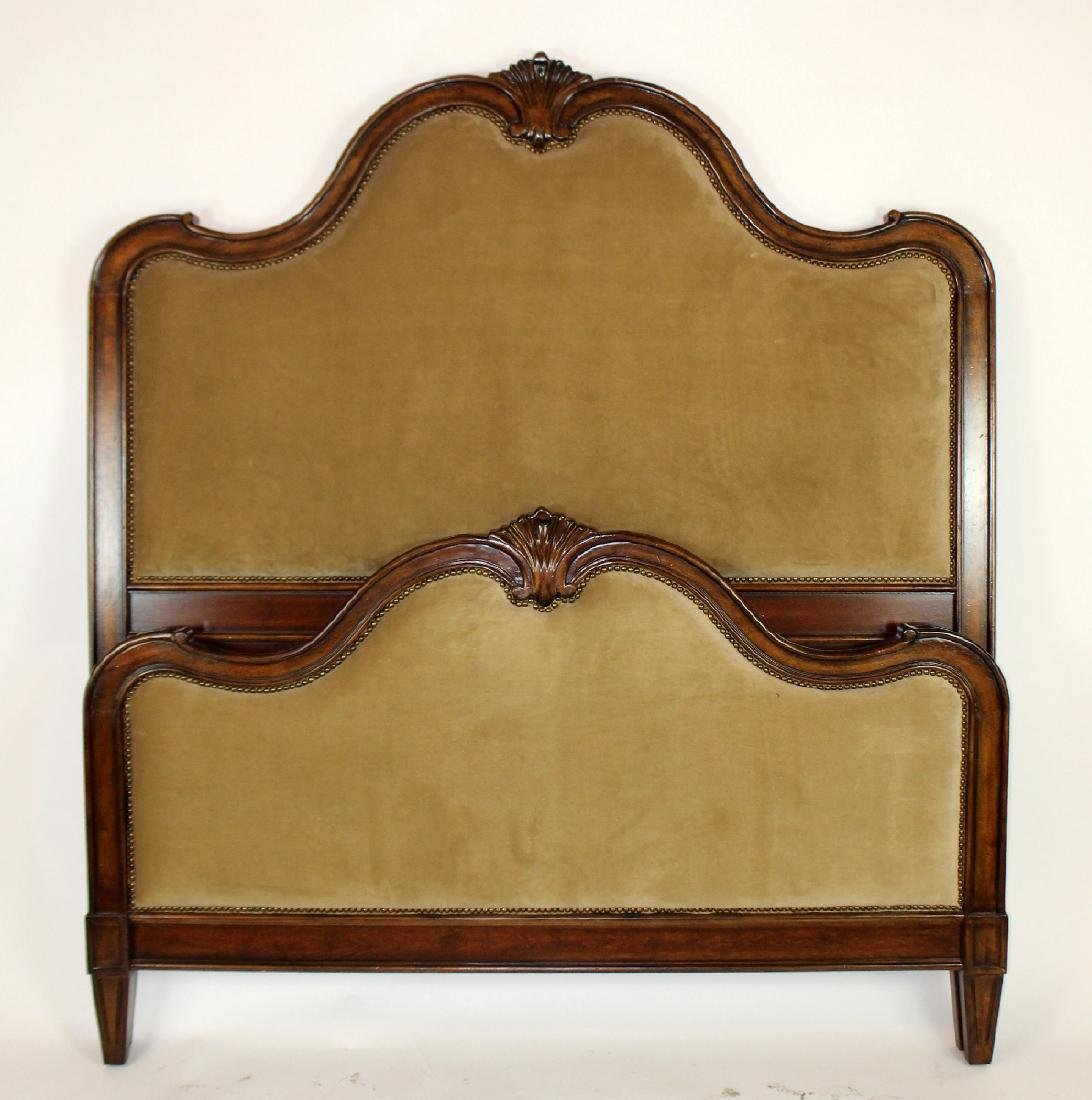 French Louis XV style high back upholstered bed