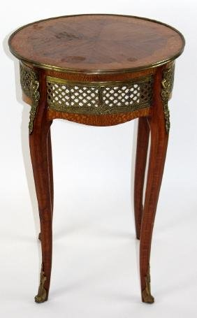 Louis XV style marquetry gueridon table