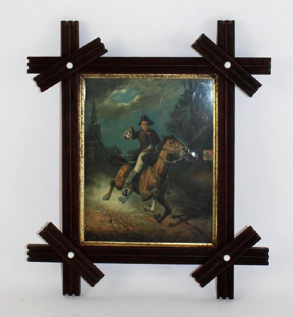 Tramp art oak frame with enamel studs