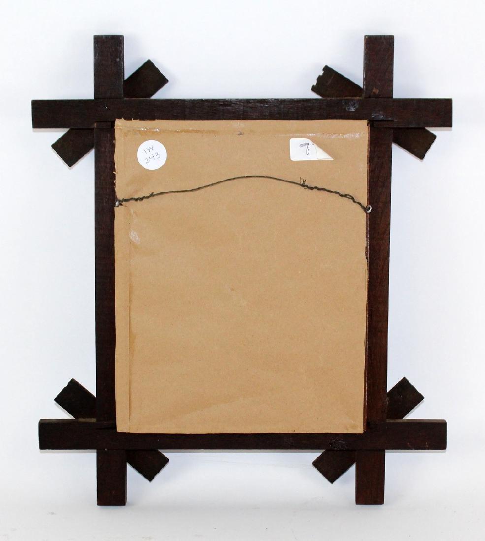 Tramp art oak frame with enamel studs - 2