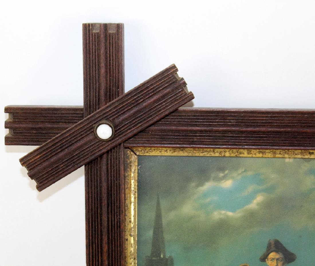 Tramp art oak frame with enamel studs - 3