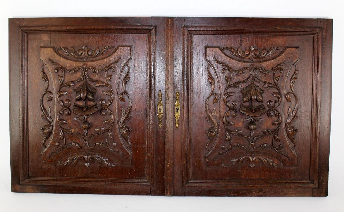 Pair French carved oak door panels