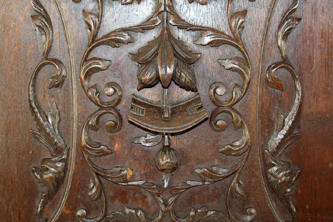Pair French carved oak door panels - 2