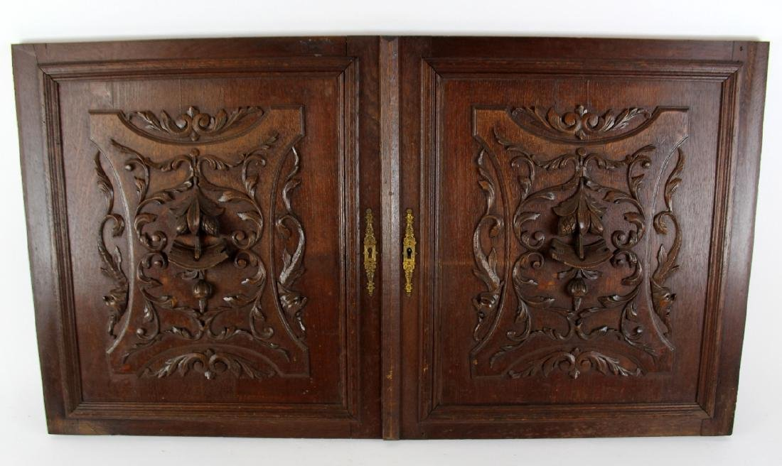 Pair French carved oak door panels - 3