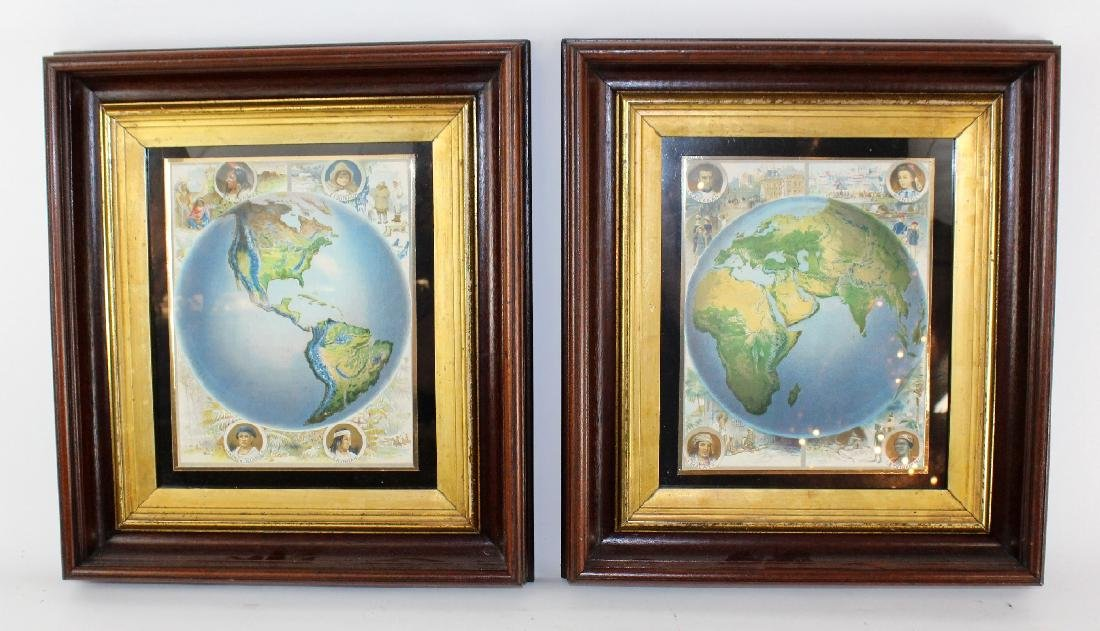 Pair of map prints in antique mahogany frames