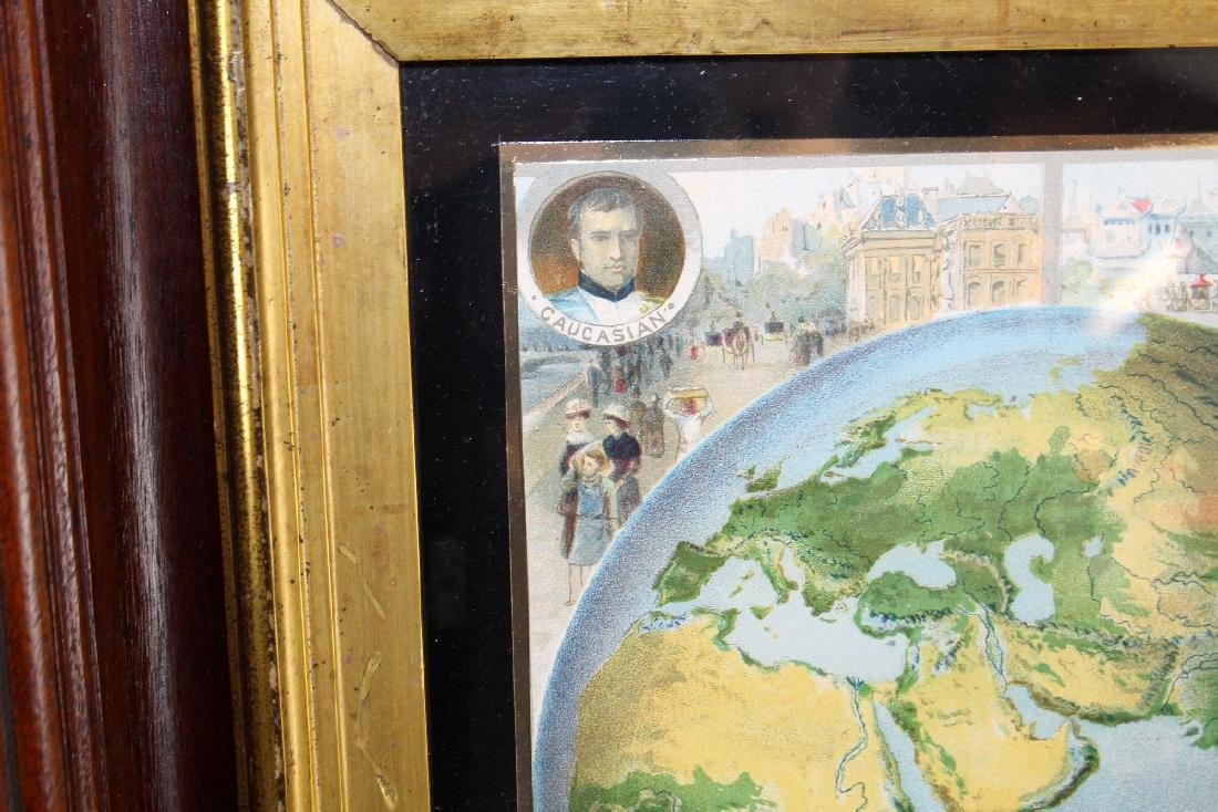 Pair of map prints in antique mahogany frames - 2