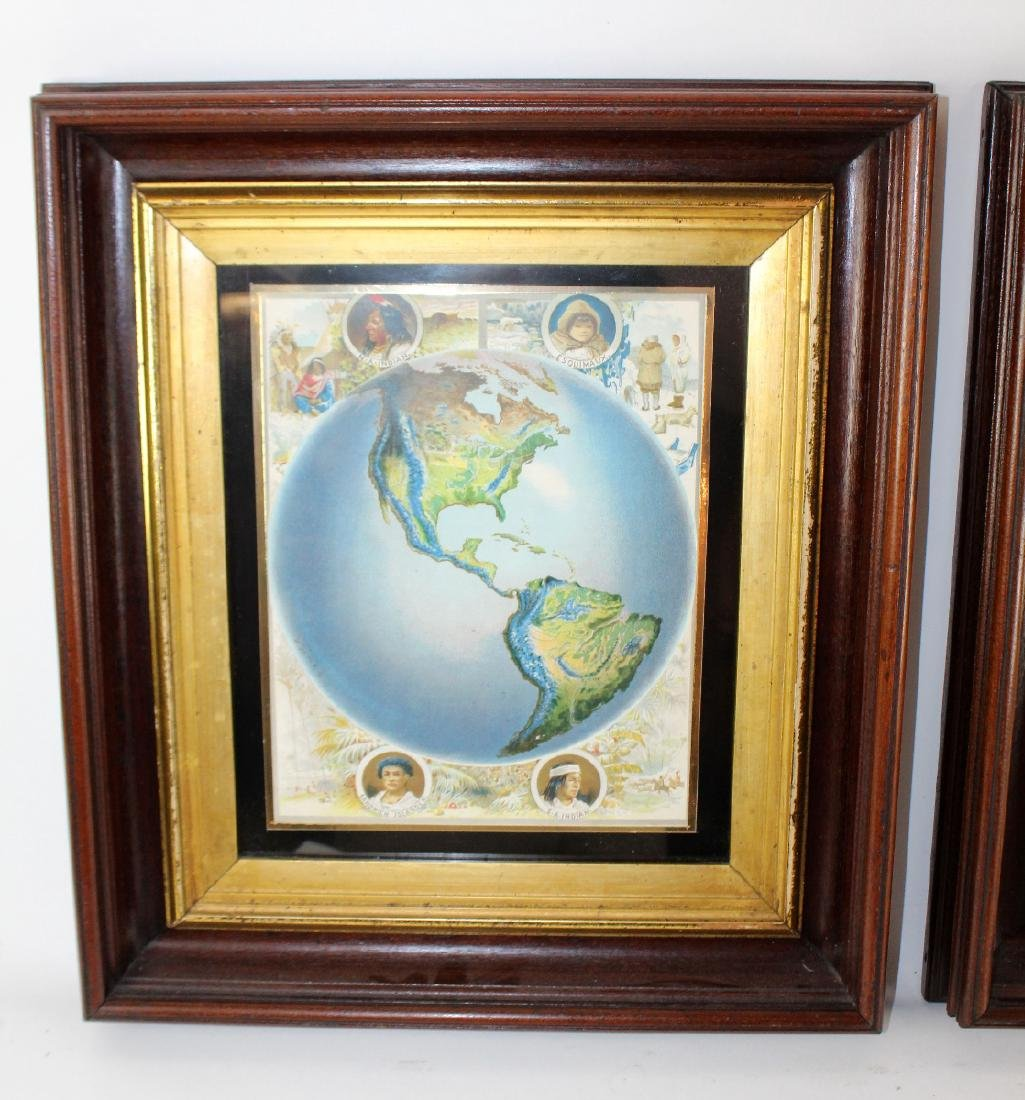 Pair of map prints in antique mahogany frames - 3