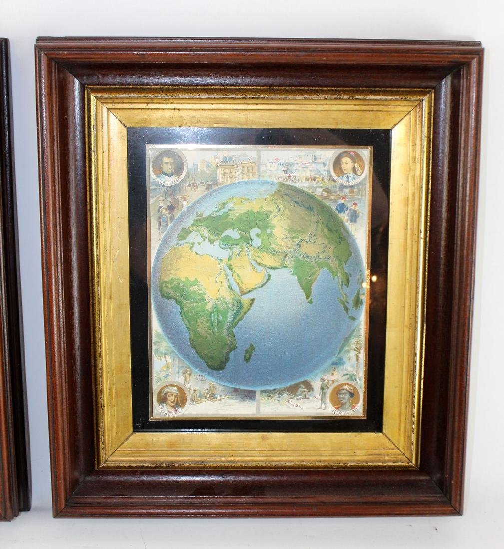Pair of map prints in antique mahogany frames - 4