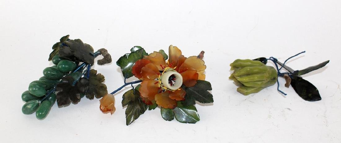 Lot of 3 marble fruit and flowers