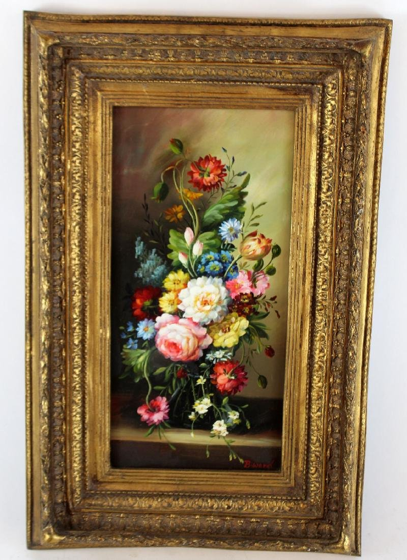 Oil on board stillife with flowers