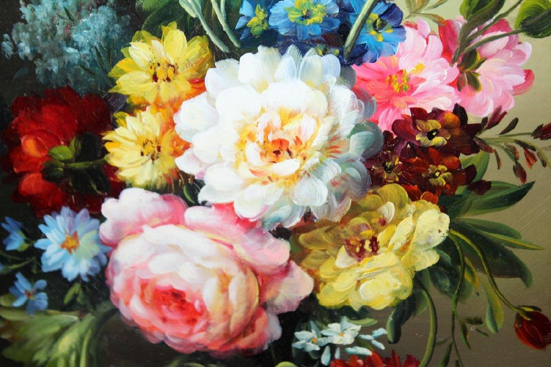 Oil on board stillife with flowers - 4