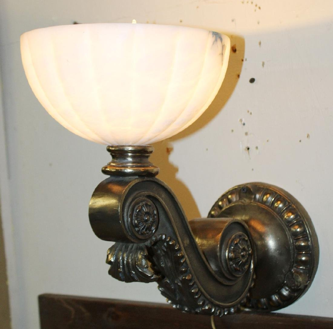 Polished bronze sconce with alabaster shade - 3