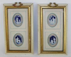 Pair of Limoges cameo wall hangings