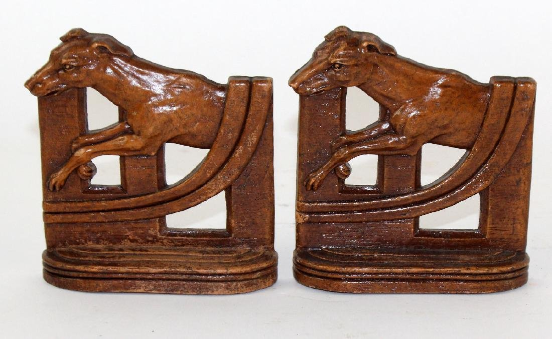 Pair of vintage carved wood bookends