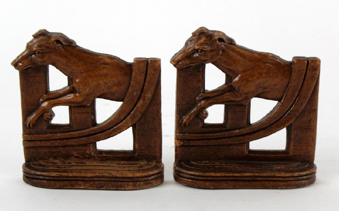 Pair of vintage carved wood bookends - 3