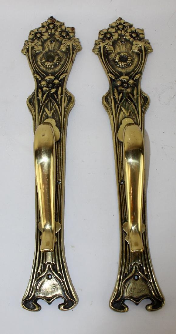 Pair of bronze Art Nouveau style door pulls - 3