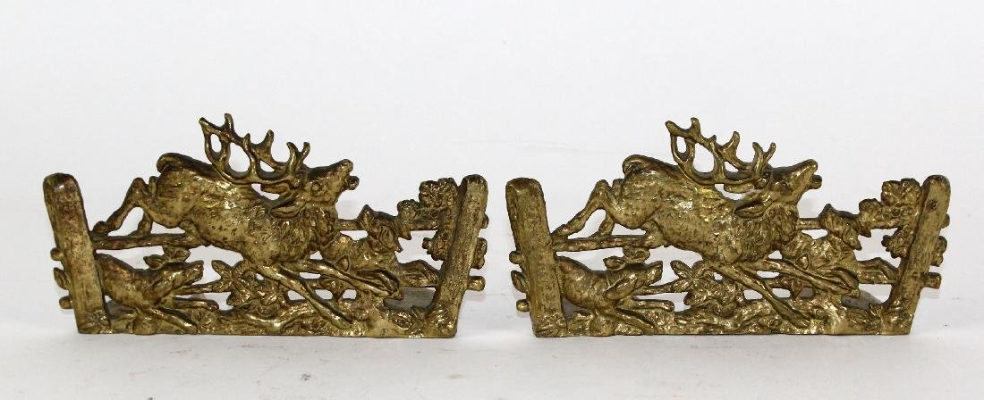 Pair of embossed brass bookends