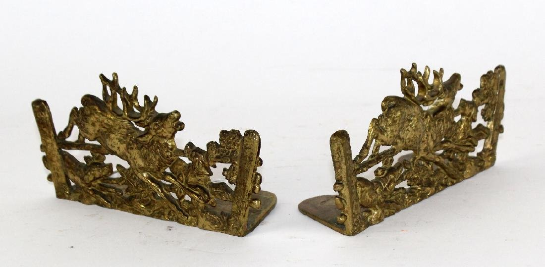 Pair of embossed brass bookends - 2