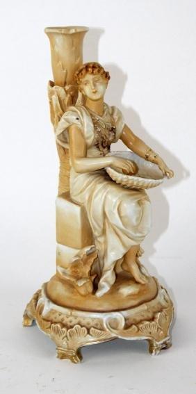 German porcelain figural candle holder