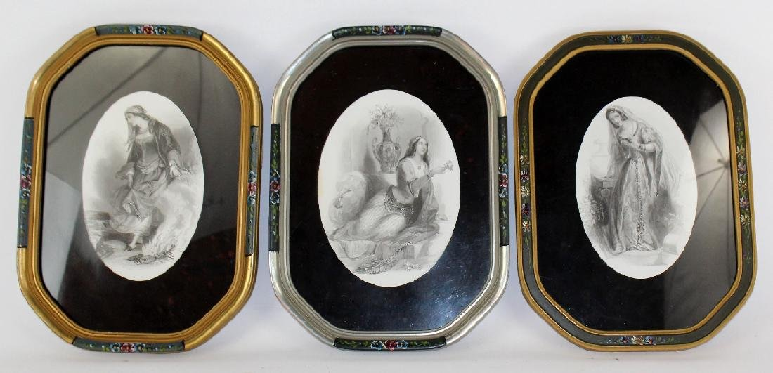 3 framed engravings in floral painted frames