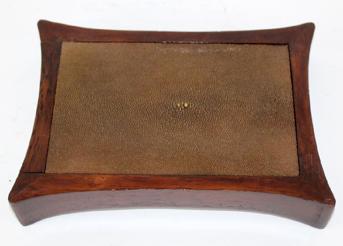 Mahogany and stingray leather box