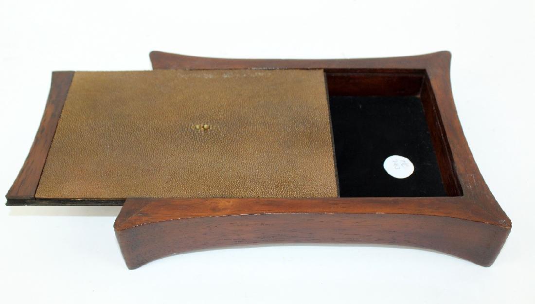 Mahogany and stingray leather box - 3