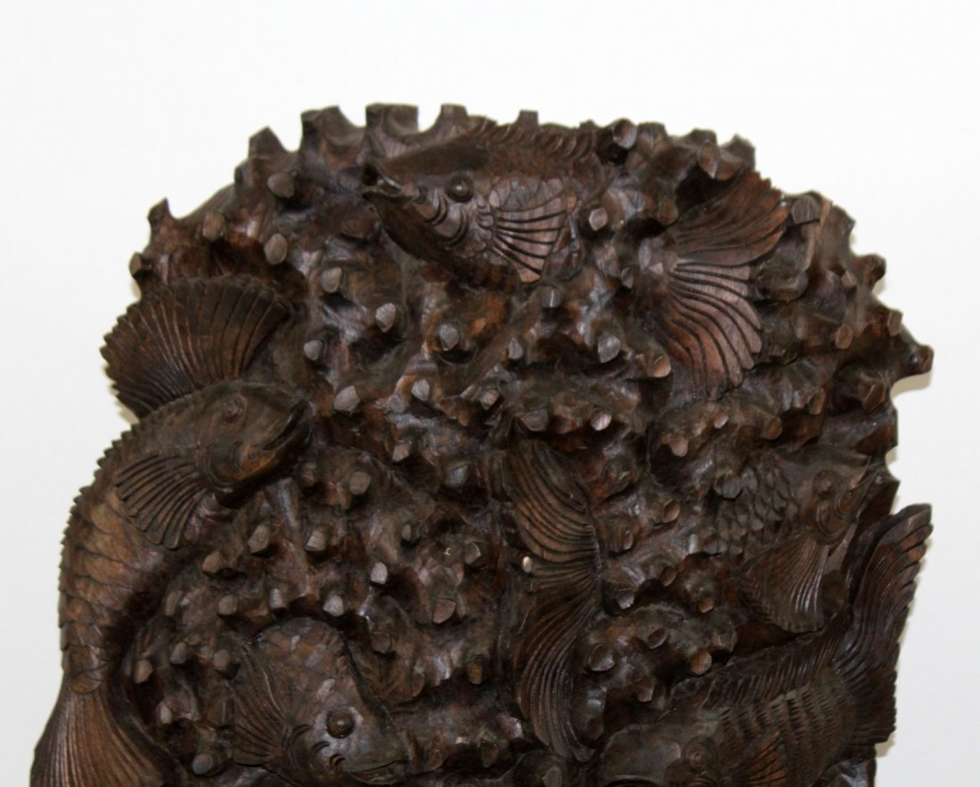 Pair of carved Chinese hardwood panels with fish - 3