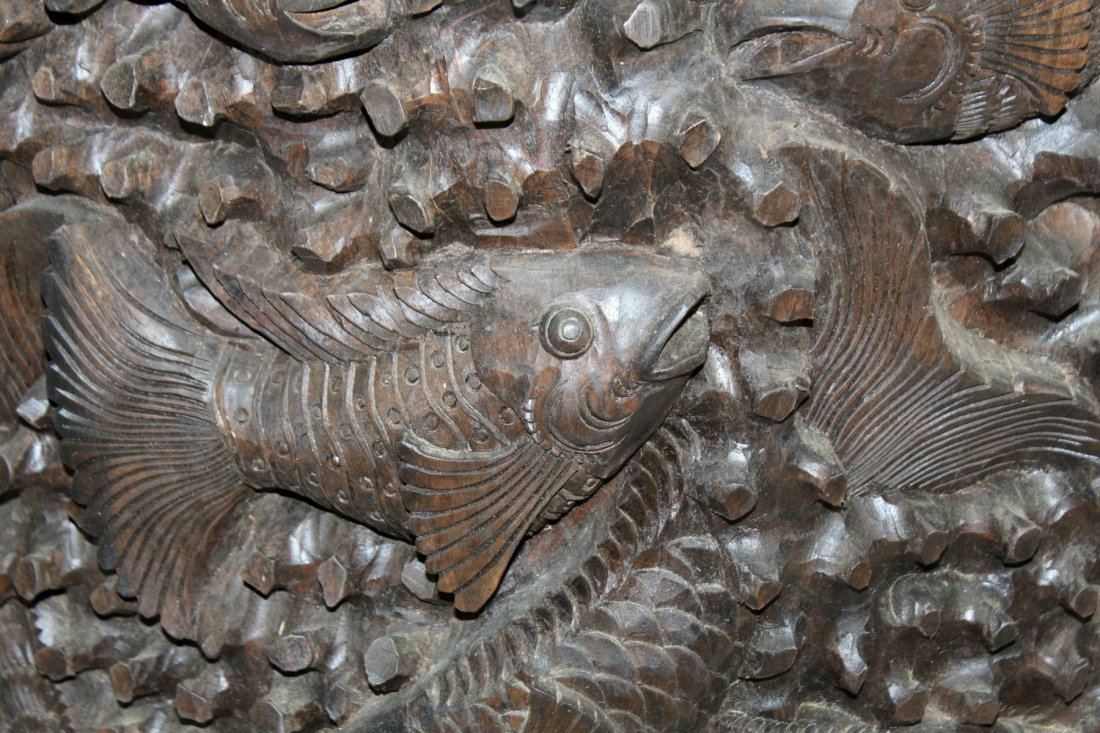 Pair of carved Chinese hardwood panels with fish - 5