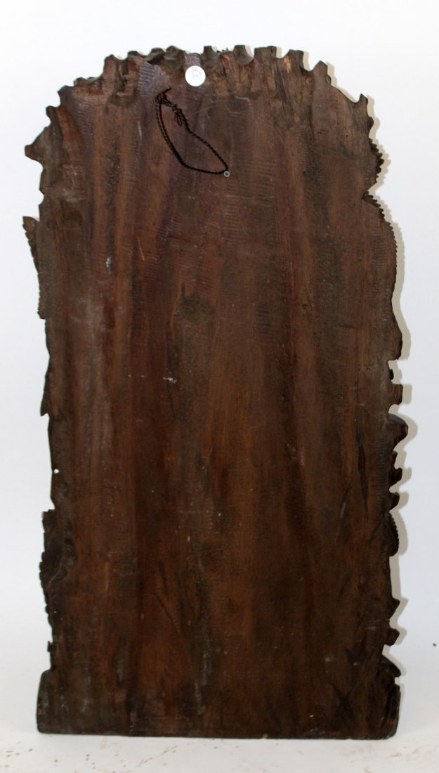 Pair of carved Chinese hardwood panels with fish - 6