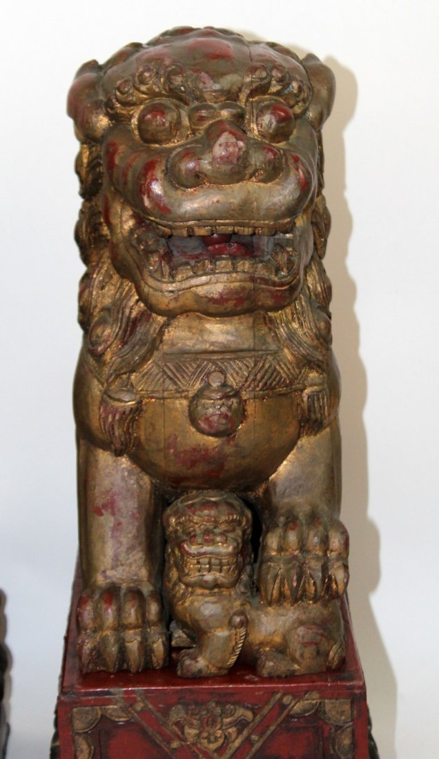 Pair of Chinese carved wooden foo lions - 3