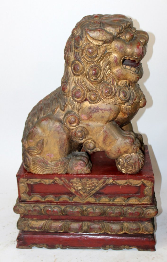 Pair of Chinese carved wooden foo lions - 5