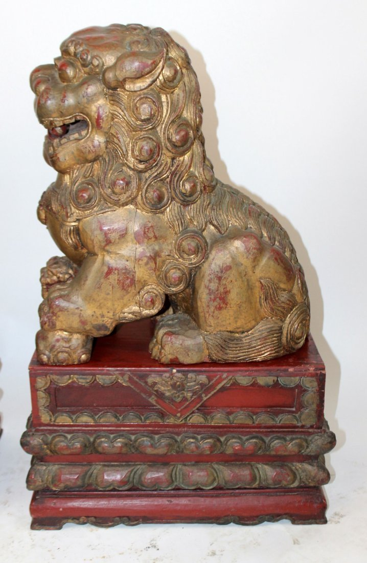 Pair of Chinese carved wooden foo lions - 6