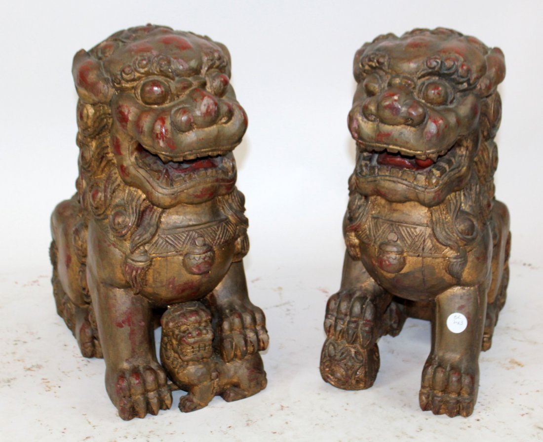 Pair of Chinese carved wooden foo lions - 8