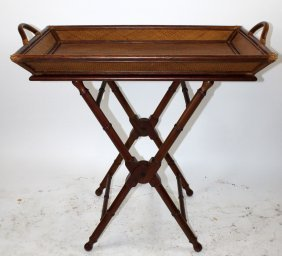 Butlers rattan top foling tray on bamboo stand