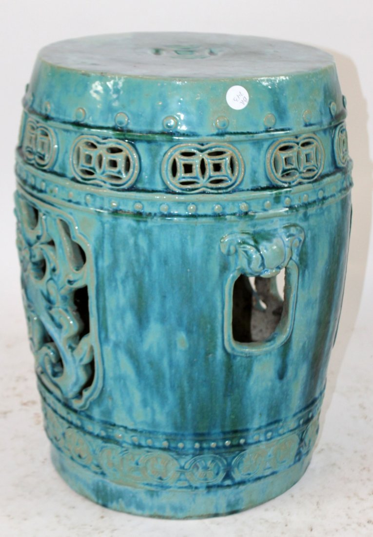 Chinese glazed ceramic garden seat - 2