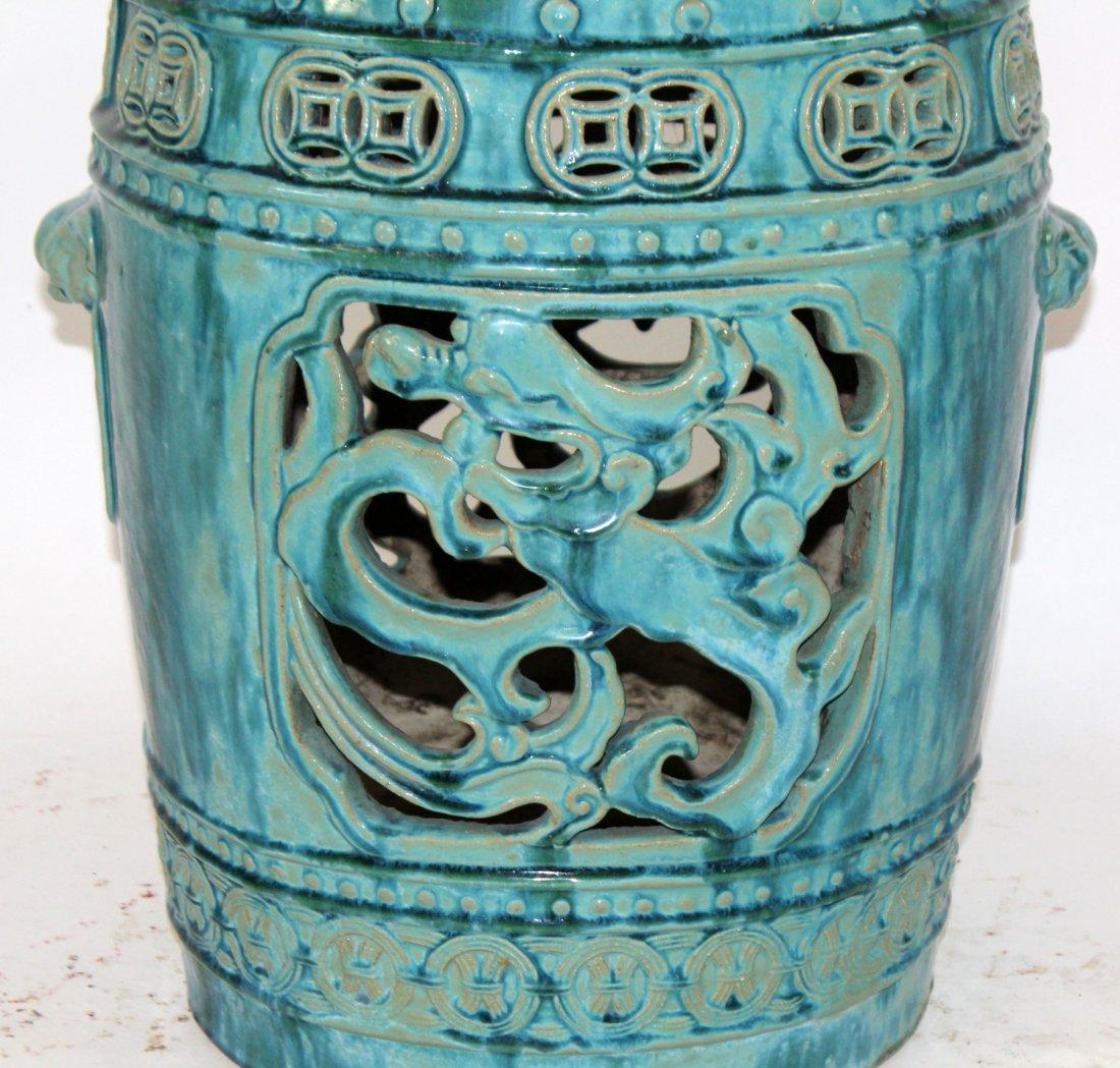 Chinese glazed ceramic garden seat - 3