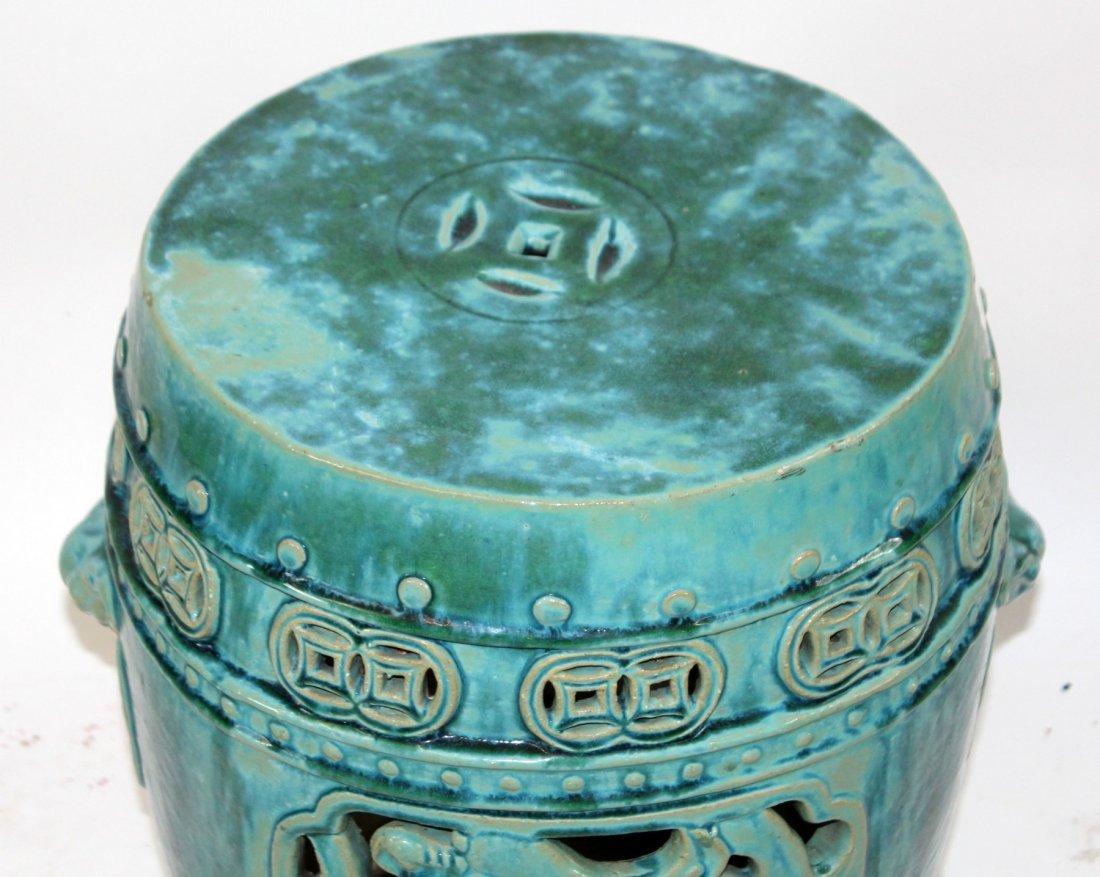 Chinese glazed ceramic garden seat - 4