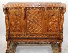 Chinese heavily carved teak altar table