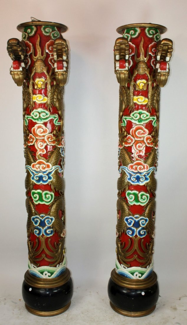 Pair of Chinese temple columns with dragons - 2