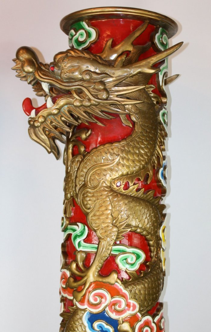 Pair of Chinese temple columns with dragons - 3
