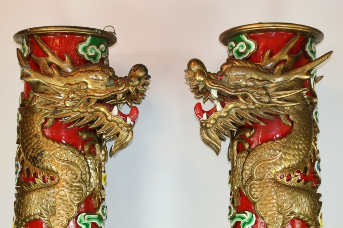 Pair of Chinese temple columns with dragons - 4