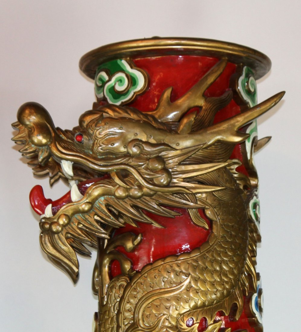 Pair of Chinese temple columns with dragons - 5