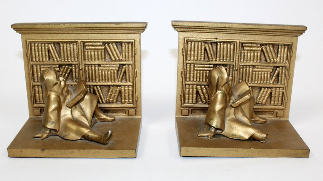 Pair Bradley & Hubbard library bookends with gnomes