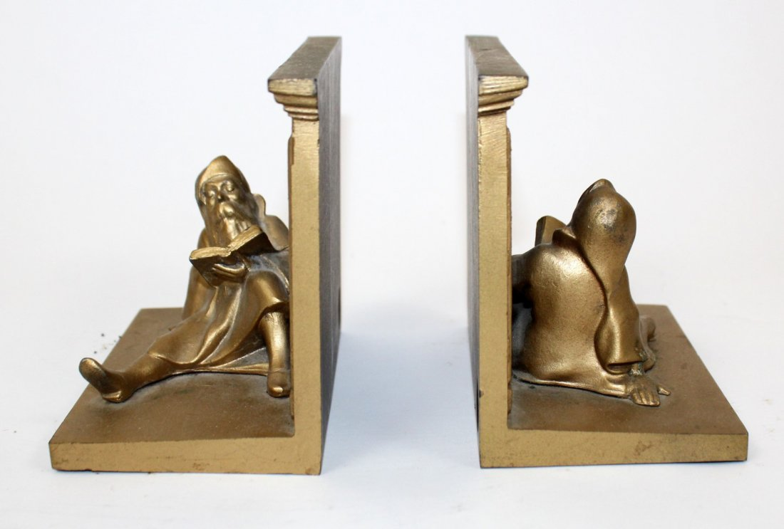 Pair Bradley & Hubbard library bookends with gnomes - 6