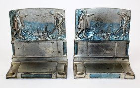 """Pair of Pompeian """"The Pioneers"""" bookends"""
