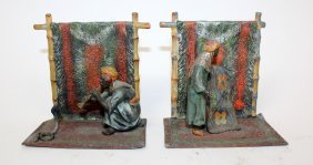 Pair of cold painted bronze bookends