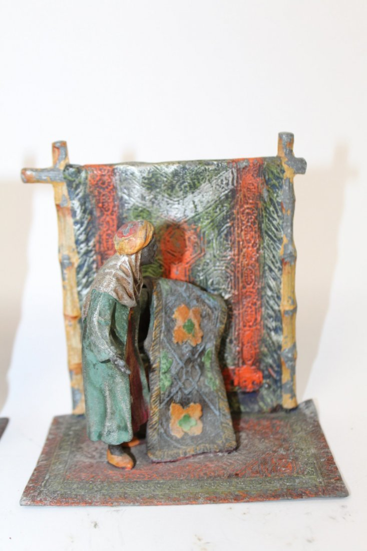 Pair of cold painted bronze bookends - 2