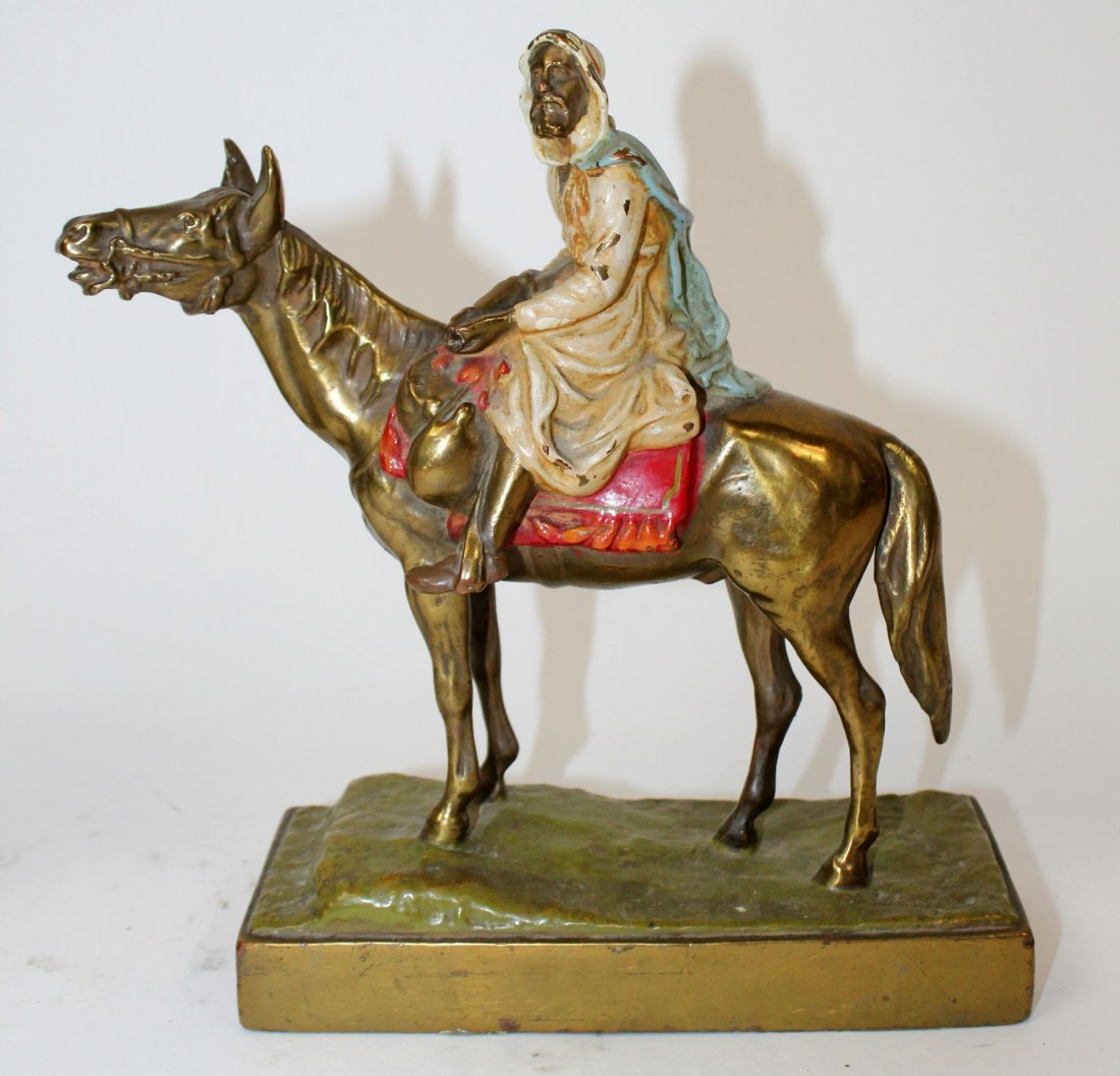 Pair of polychrome Arabian man on horse bookends - 2